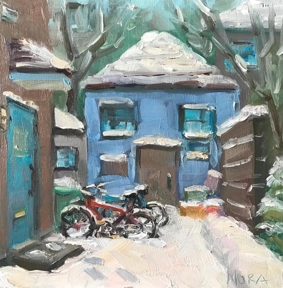 """""""snowy bicycles"""" original fine art by Nora MacPhail"""