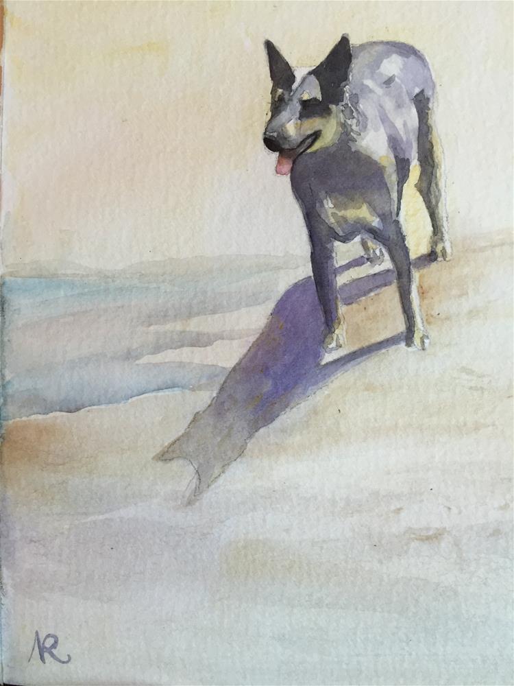 """A dog on the beach"" original fine art by Natasha Ramras"
