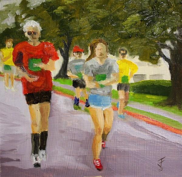 """""""Marathon"""" original fine art by Jane Frederick"""