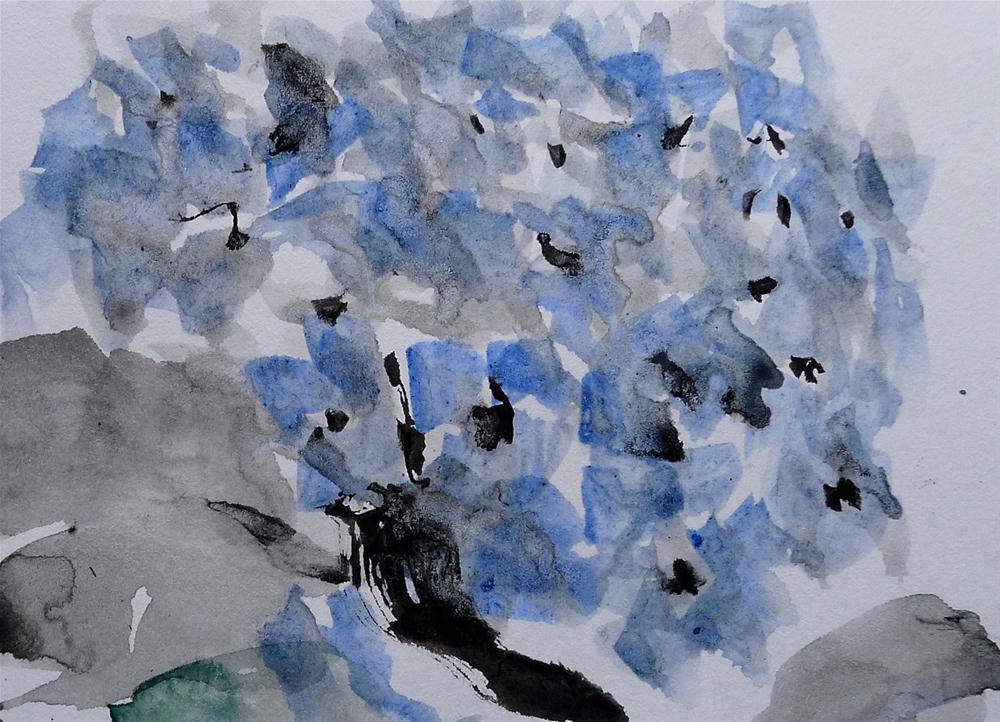 """Blue Hydrangea - sketch"" original fine art by Ulrike Schmidt"