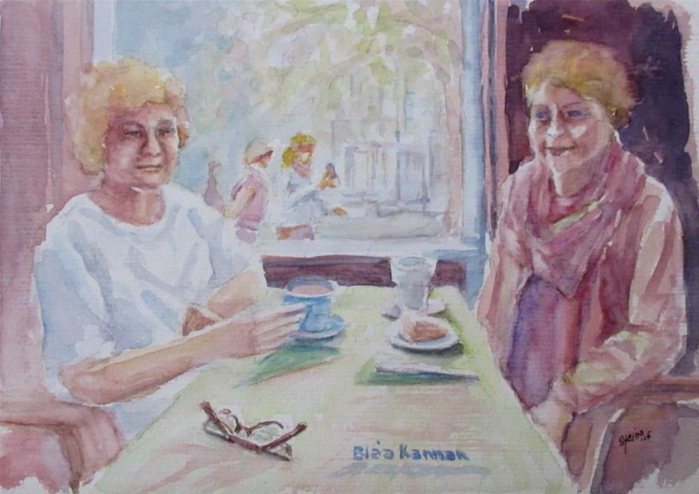 """Girlfriends at the Blue Jug"" original fine art by Steinunn Einarsdottir"