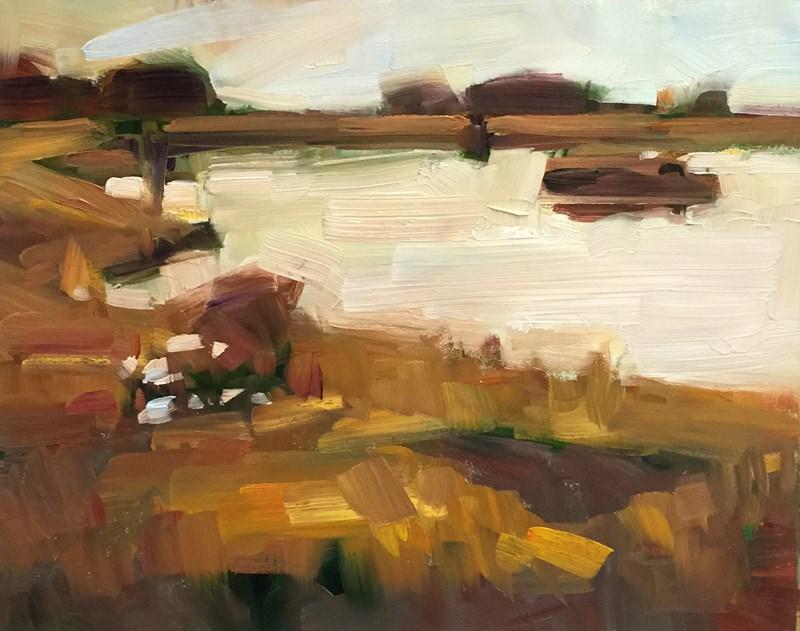 """Red-Gold Glow at Golden Gardens"" original fine art by Patti McNutt"