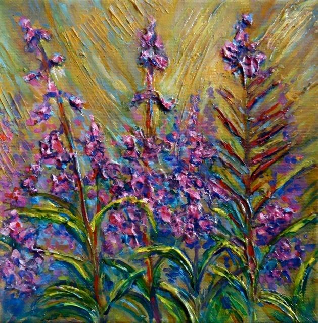 """""""Impasto Yukon Fireweed"""" original fine art by Jackie Irvine"""