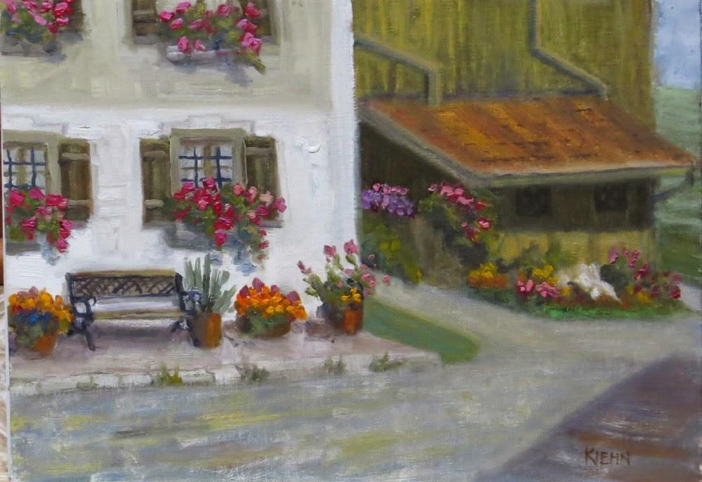 """Bavarian Farmhouse"" original fine art by Richard Kiehn"