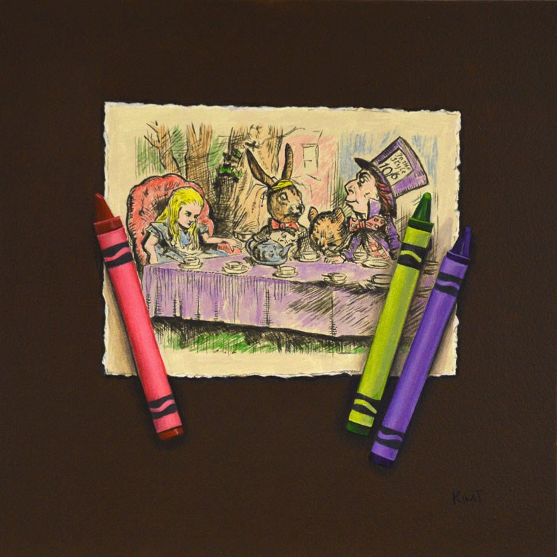 """Mad Hatter's Wonderland Tea Party with Crayons"" original fine art by Kim Testone"