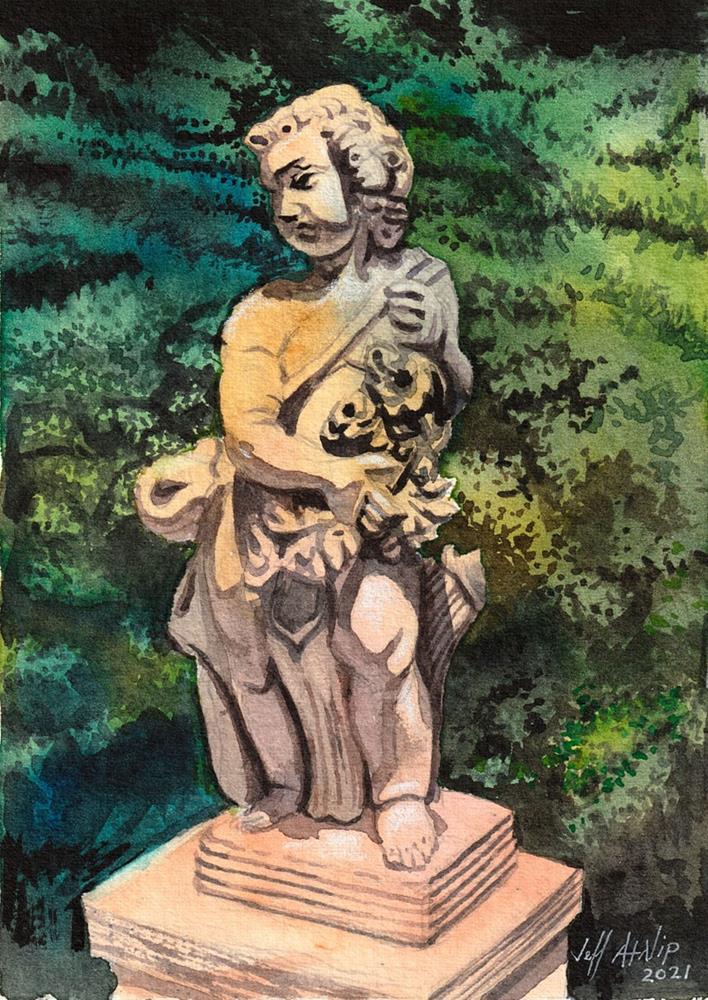 """""""Garden Statue"""" original fine art by Jeff Atnip"""
