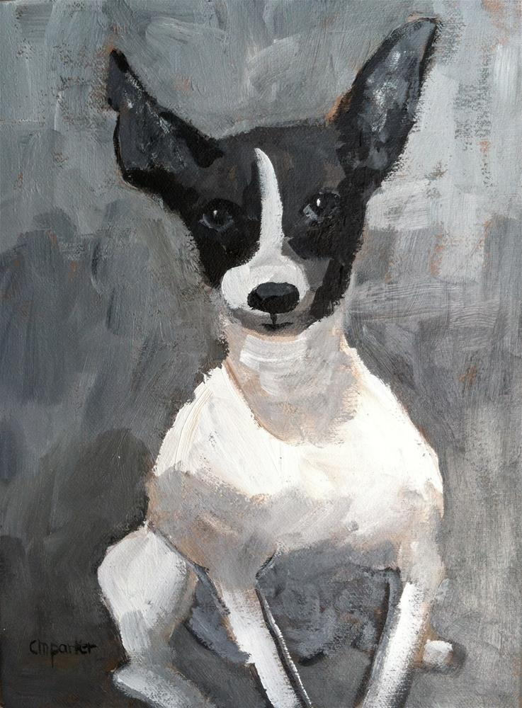 """Chihuahua Monochromatic Painting"" original fine art by Christine Parker"