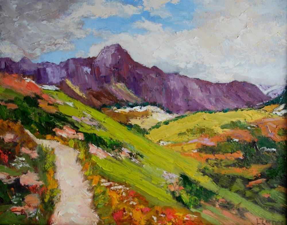 """On the Trail at Glacier National Park"" original fine art by Liz Zornes"