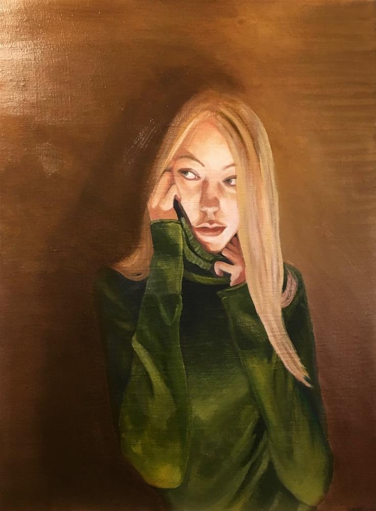 """""""Green Sweater"""" original fine art by Karen Stitt"""