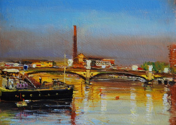 """Golden Morning, Battersea Bridge"" original fine art by Adebanji Alade"