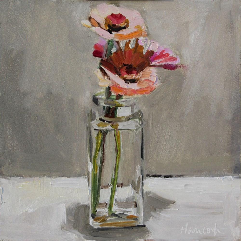 """Zinnias Square Jar Top Light"" original fine art by Gretchen Hancock"