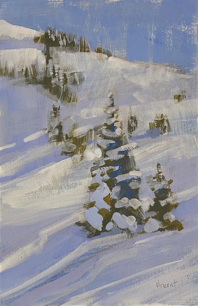 """Snow Shadows"" original fine art by Patti Vincent"