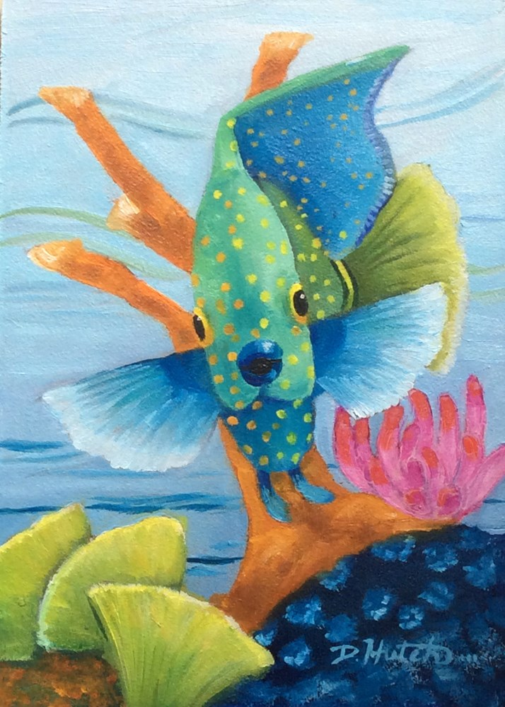 """Fish on Reef #1"" original fine art by Diane Hutchinson"