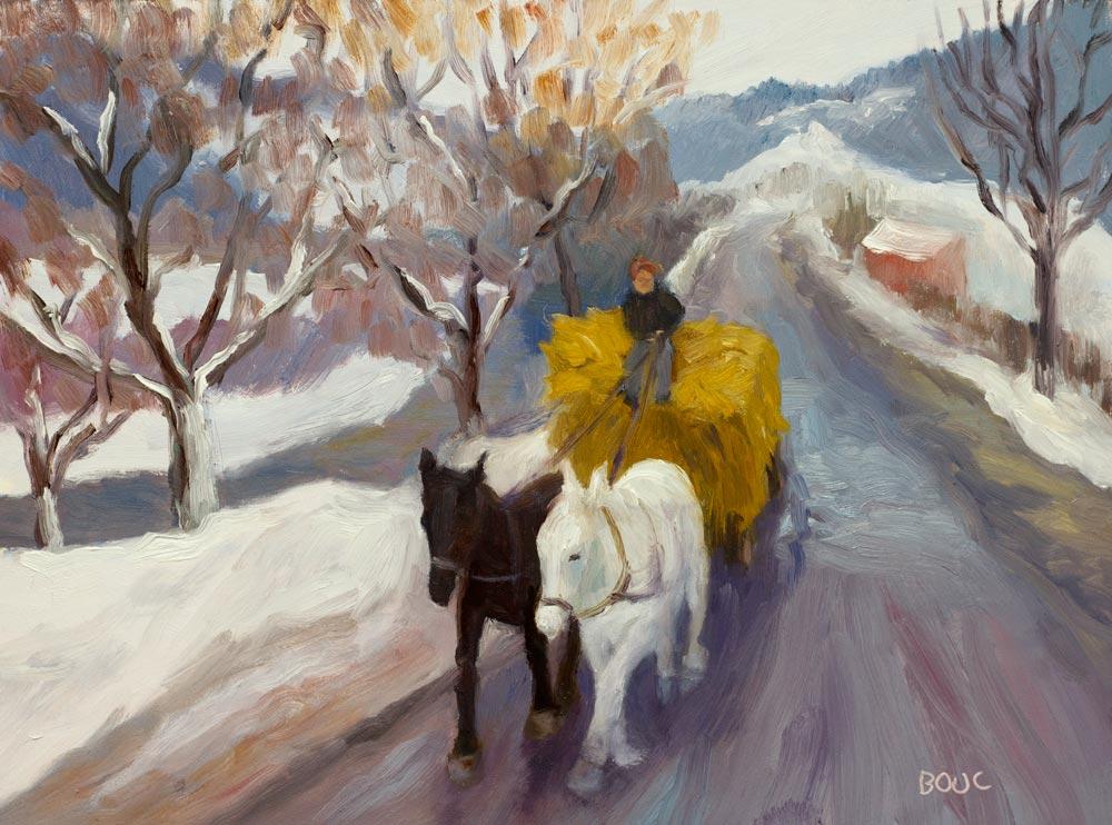 """Romanian Winter Hayride"" original fine art by Jana Bouc"