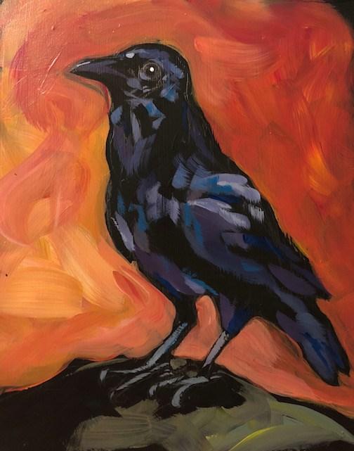"""Crow Says Caw"" original fine art by Kat Corrigan"