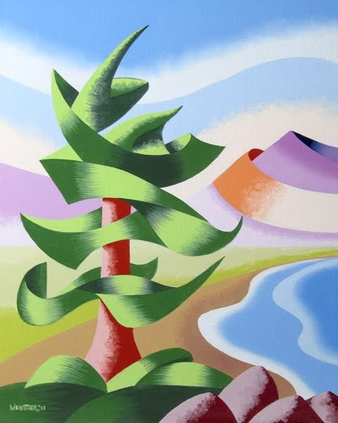 """Mark Webster - Abstract Geometric Pine Tree Landscape Oil Painting"" original fine art by Mark Webster"
