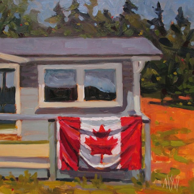 """Oh Canada-8x8 oil on panel~ Loving our week in Parrsboro and enjoyed flying Mama's Canadian Maple Leaf."" original fine art by Mary Sheehan Winn"