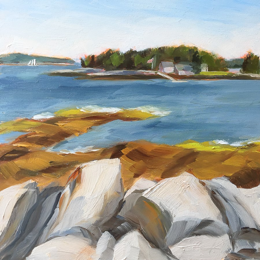 """#32 - Mouse Island - Boothbay Harbor, ME"" original fine art by Sara Gray"
