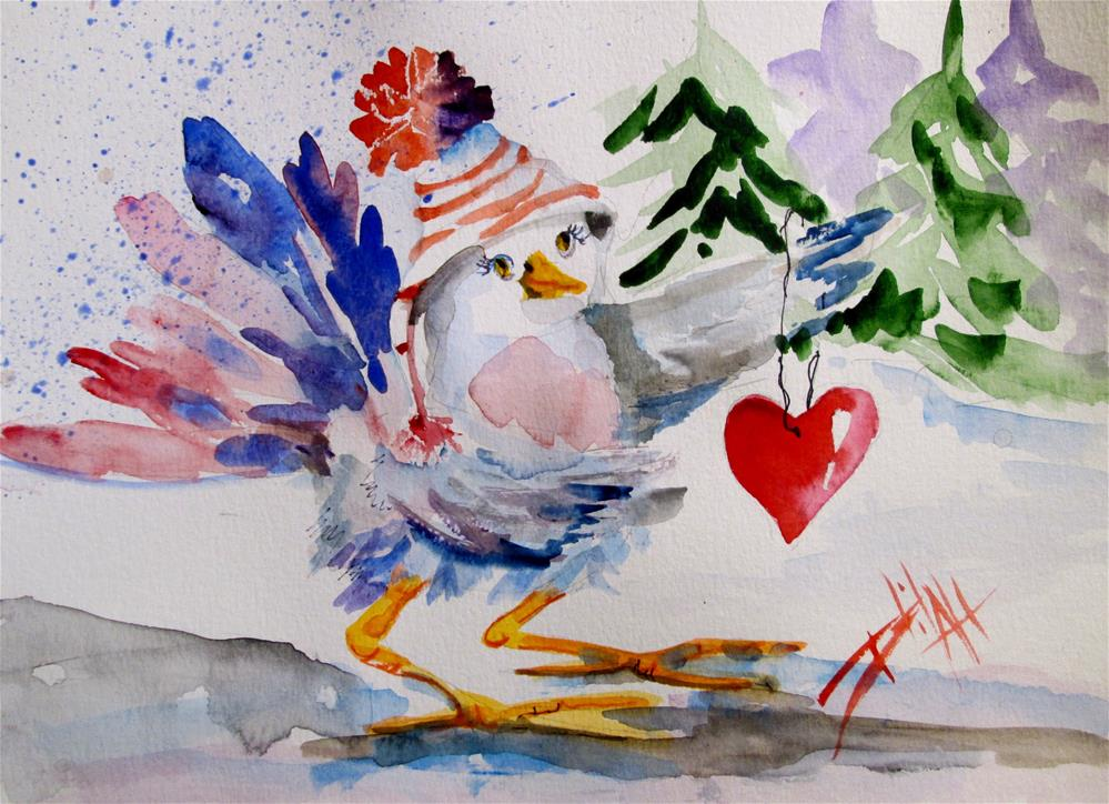 """Chubby Bird and Valentine"" original fine art by Delilah Smith"