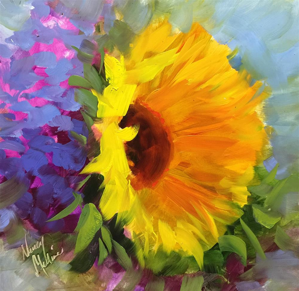 """Wake Up Call Sunflower and a Class at the Dallas Arboretum - Nancy Medina Art Videos and Workshops"" original fine art by Nancy Medina"