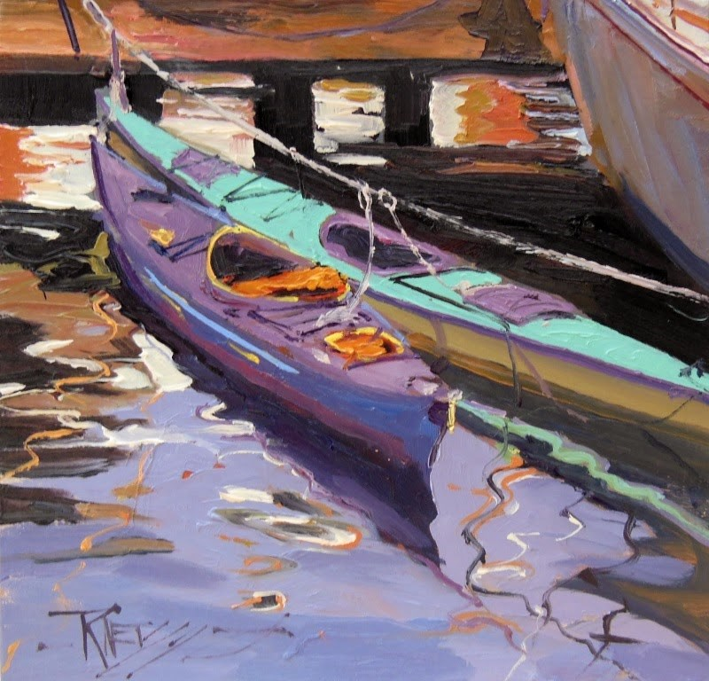 """Double Kayaks  oil painting by Robin Weiss"" original fine art by Robin Weiss"