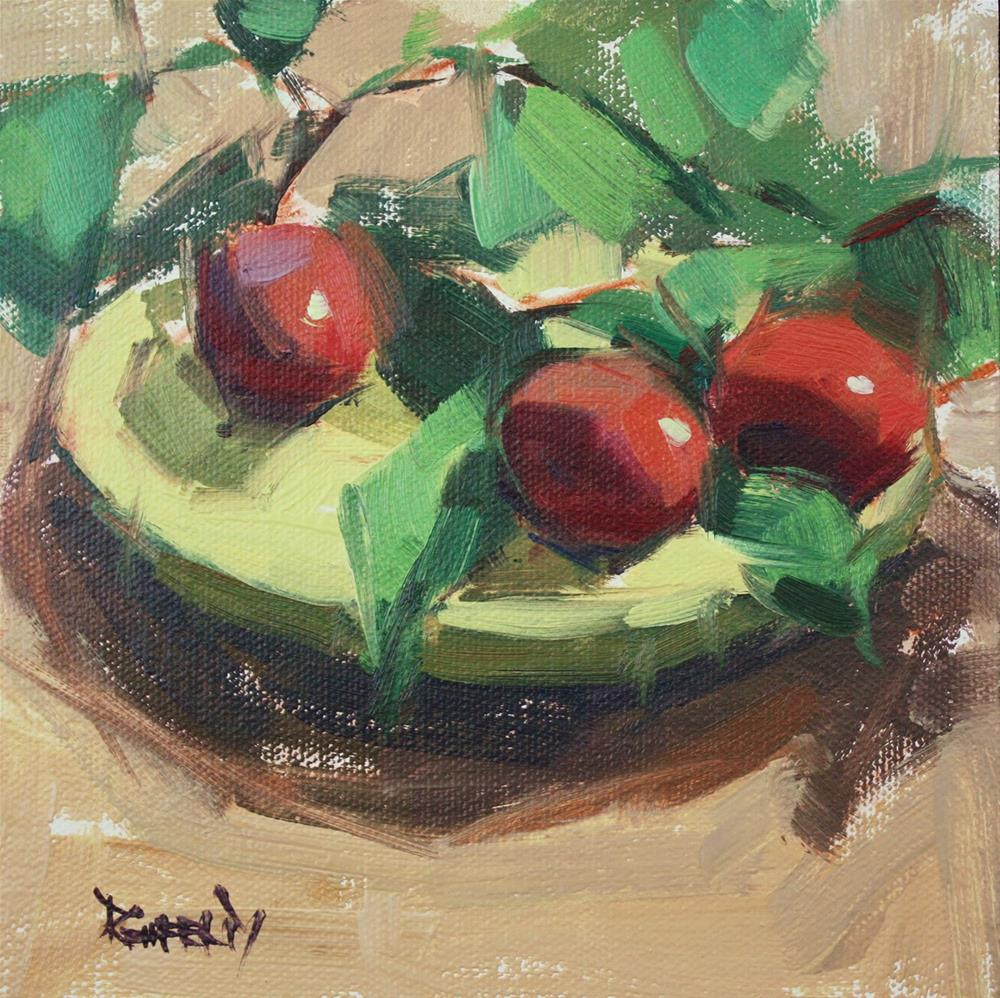 """""""Plums and Greens"""" original fine art by Cathleen Rehfeld"""