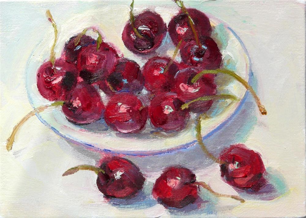 """Bing Cherries,still life,oil on canvas,5x7,price$175"" original fine art by Joy Olney"