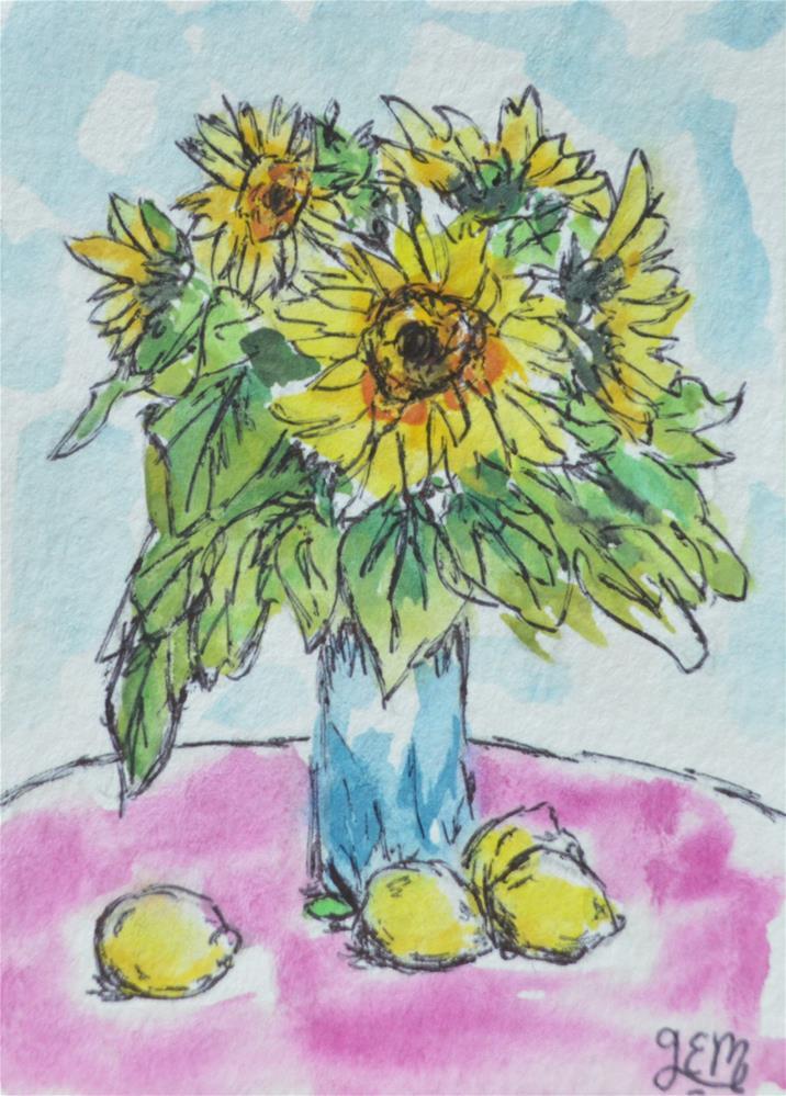 """Sunflower Bouquet Watercolor ACEO"" original fine art by Gloria Ester"