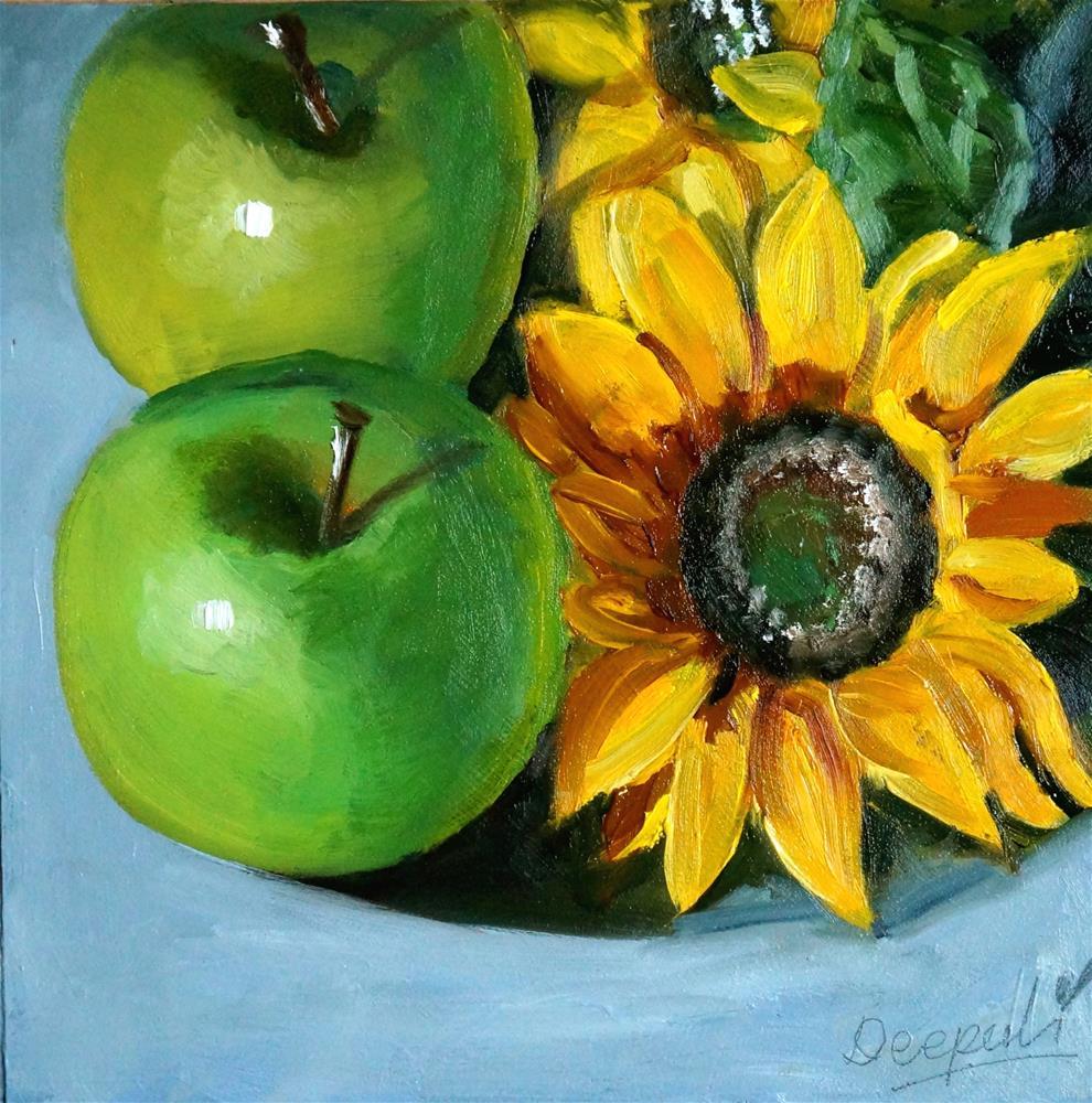 """Apples with Sunflower"" original fine art by Dipali Rabadiya"