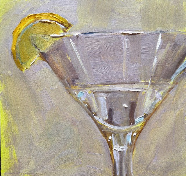 """Cocktail Time! 6x6 Inch Oil Painting by Kelley MacDonald"" original fine art by Kelley MacDonald"