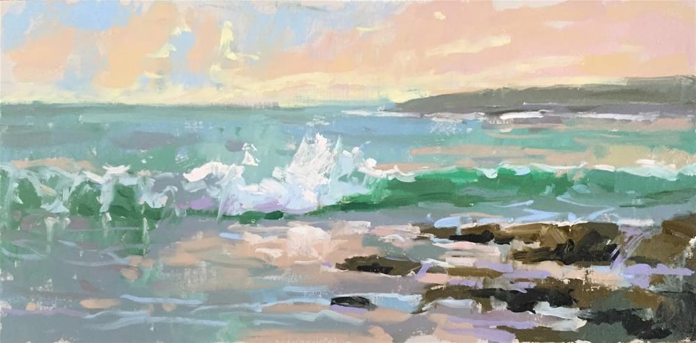 """Warm evening waves"" original fine art by Haidee-Jo Summers ROI"