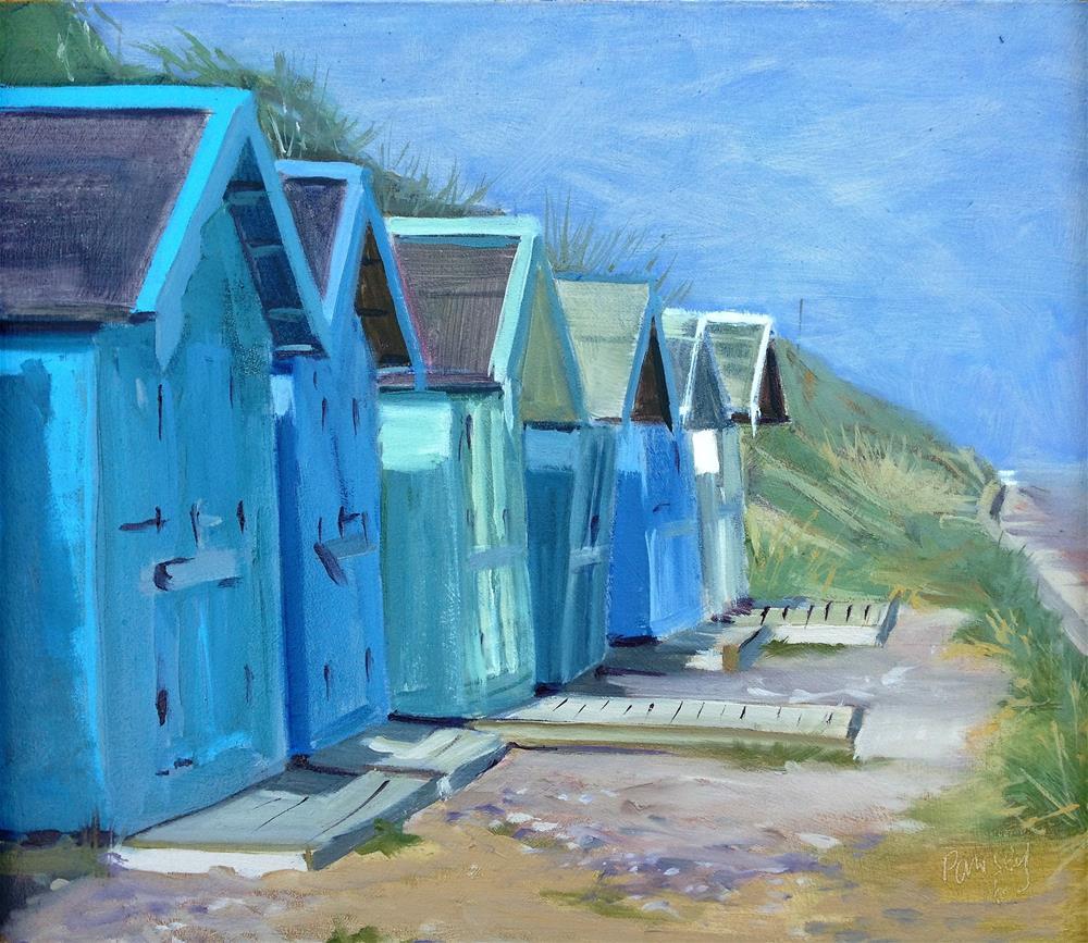 """Beach Huts Overstrand #1"" original fine art by Tanya Pawsey"