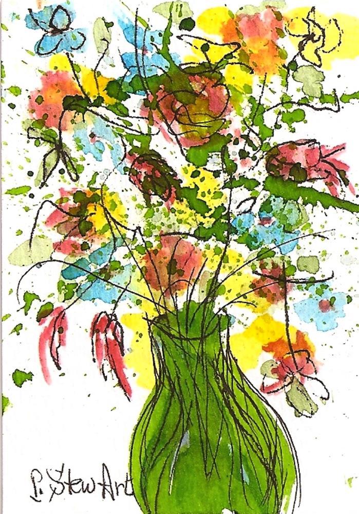 """ACEO Spring Bouquet of Wildflowers in Green Vase Watercolor Original Art"" original fine art by Penny Lee StewArt"