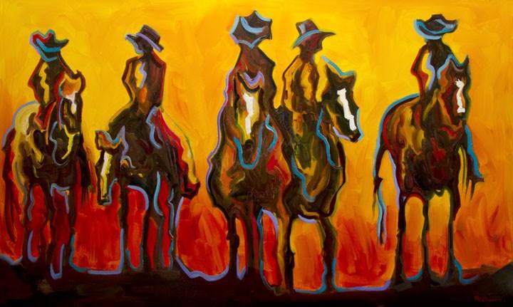 """ARTOUTWEST COWBOY ART by Diane Whitehead Abstract Western"" original fine art by Diane Whitehead"