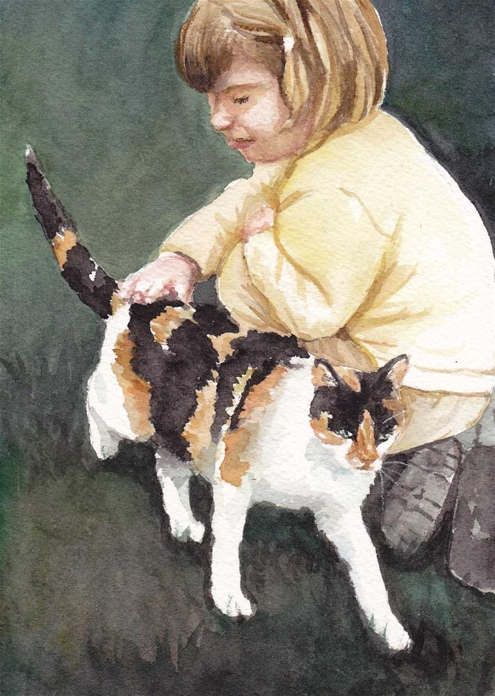 """Haley and the Calico Kitty"" original fine art by Charlotte Yealey"
