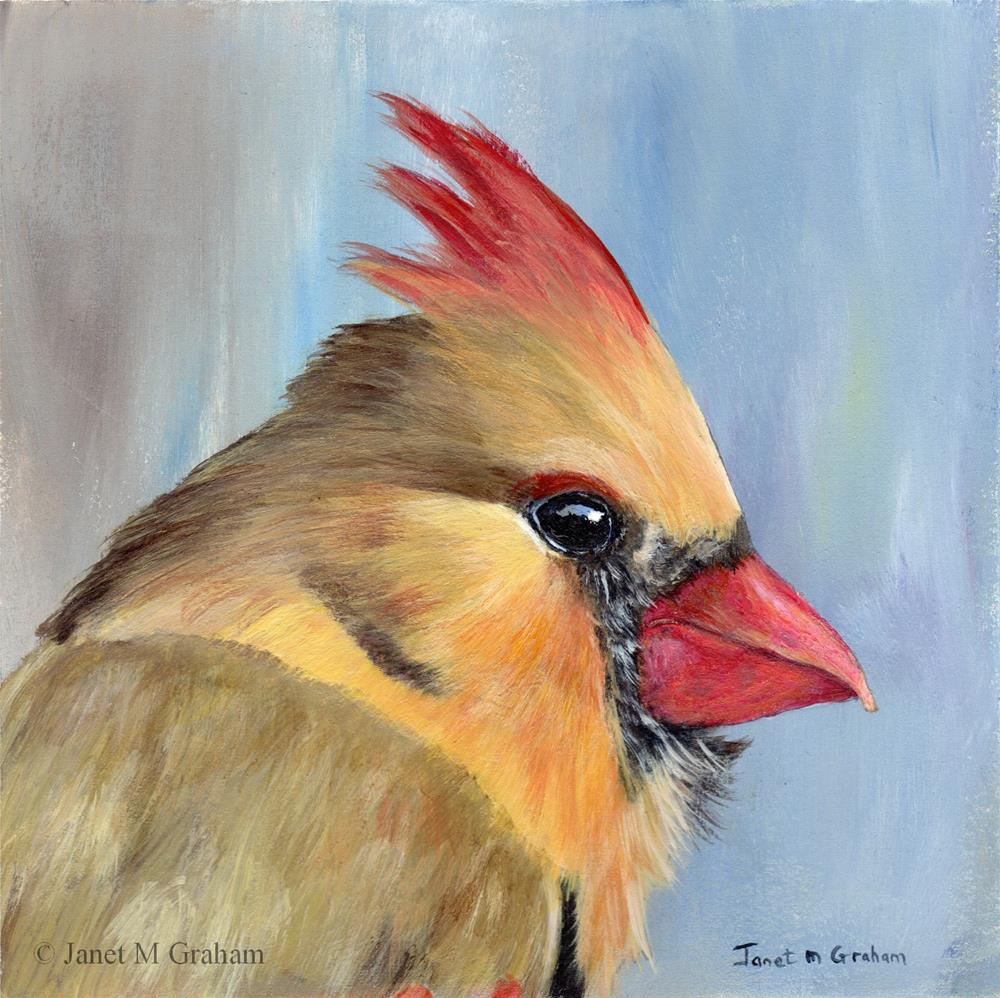 """Northern Cardinal (Female)"" original fine art by Janet Graham"
