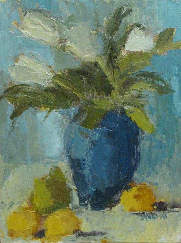 """Three Lemons and a Pear"" original fine art by Donna Thomas"