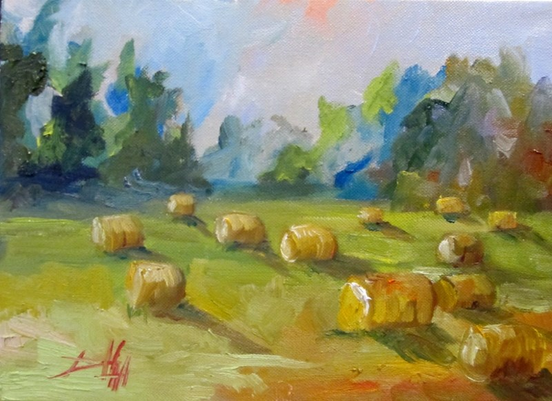 """Round Bails"" original fine art by Delilah Smith"