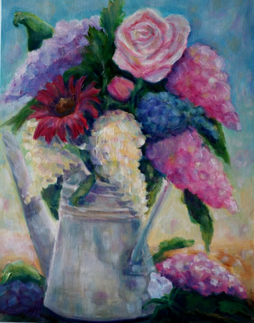 """Summer Flowers in a Watering Can"" original fine art by Maggie Flatley"