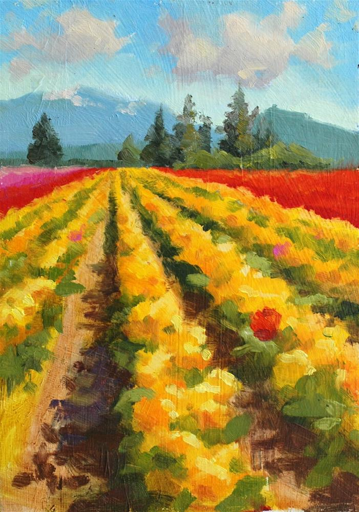 """No. 783 Sunny Day with the Tulips"" original fine art by Susan McManamen"