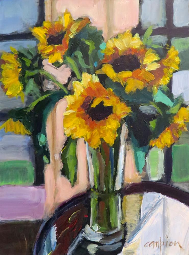 """603 Sunflowers in the Sunroom"" original fine art by Diane Campion"