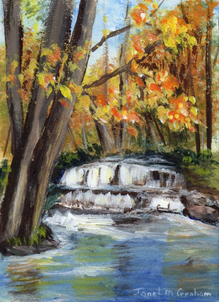 """Fall Waterfall ACEO"" original fine art by Janet Graham"