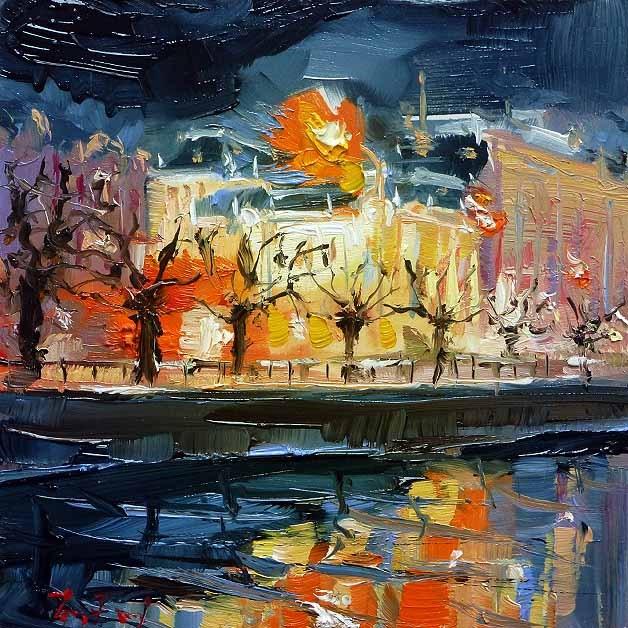 """""""Stadttheater"""" original fine art by Jurij Frey"""