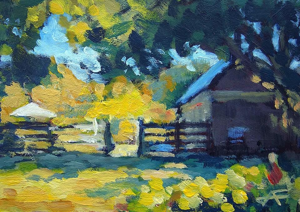 """""""Summer Fence"""" original fine art by J. Farnsworth"""