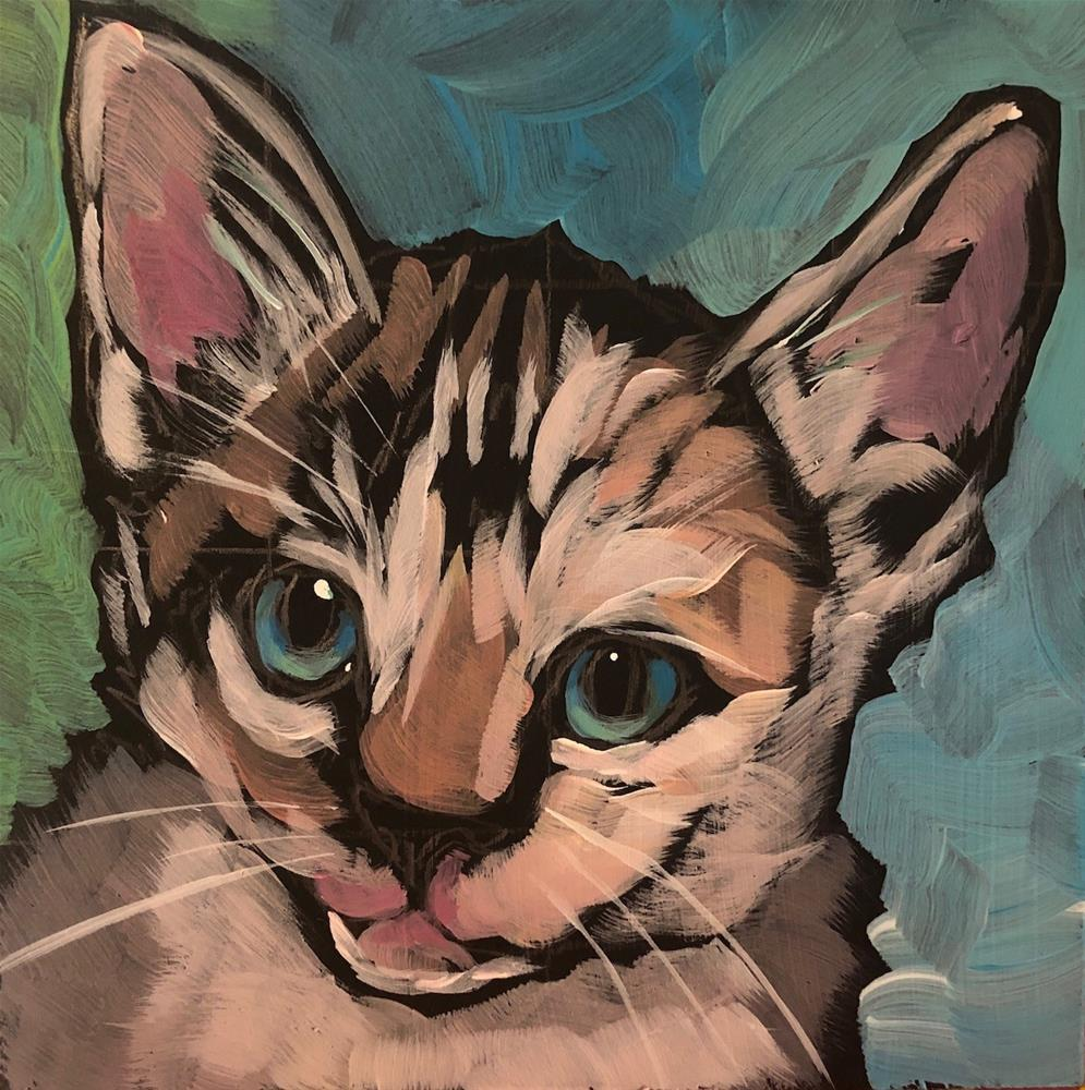 """Baby Yoda Kitty"" original fine art by Kat Corrigan"