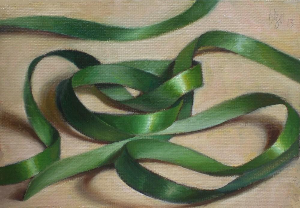 """Green Ribbon"" original fine art by Debra Becks Cooper"