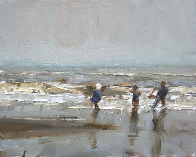 """""""Seascape winter #31 Winter sea and 3 children (girl with white hat)"""" original fine art by Roos Schuring"""