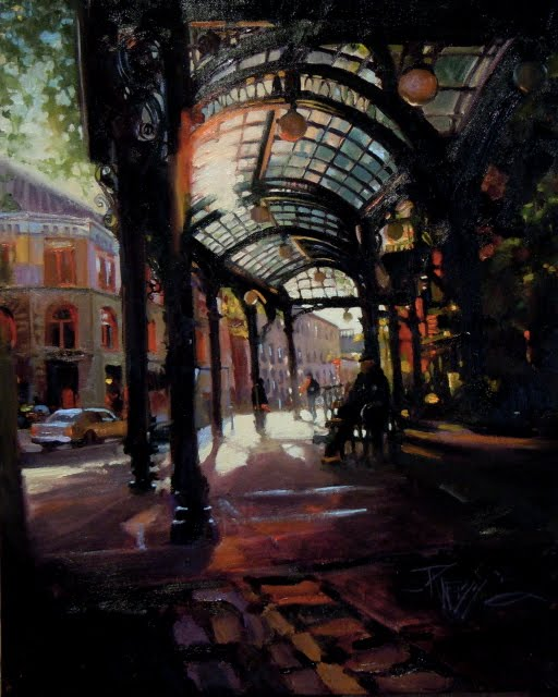 """""""Sunset at Pioneer Square oil cityscape for Arts in the Woods"""" original fine art by Robin Weiss"""