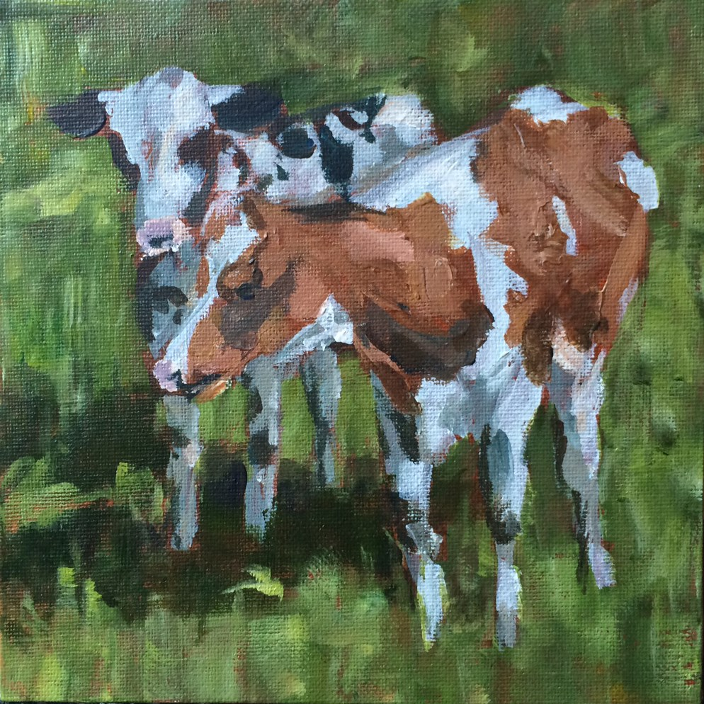 """Two  Cows"" original fine art by Shannon Bauer"