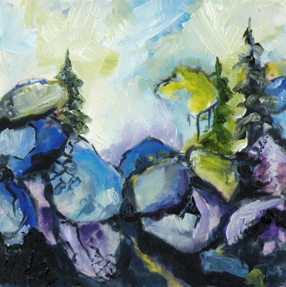 """BLUE ROCK CLIFFS ORIGINAL OIL ON 4X4 TEXTURED PANEL © SAUNDRA LANE GALLOWAY"" original fine art by Saundra Lane Galloway"